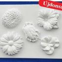 Növény-24 - gipszöntő forma (5 motívum) - virágok, Szerszámok, eszközök, Egyéb szerszám, eszköz, Gipszöntés,           Növény-24 - gipszöntő forma - virágok  - sablon: 20x25 cm- minta: 8-10 cm Az ár egy darab..., Alkotók boltja
