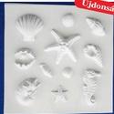 Tengeri-22 - gipszöntő forma (11 motívum) - tengeri élőlények, Szerszámok, eszközök, Egyéb szerszám, eszköz,            Tengeri-22 - gipszöntő forma - tengeri élőlények  - sablon: 26x26 cm- minta: 2-9 cm Az ár..., Alkotók boltja