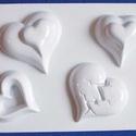 Szív-3 - gipszöntő forma (4 motívum/1 db), Szerszámok, eszközök, Egyéb szerszám, eszköz,        Szív-3 - gipszöntő forma   Mérete: - sablon: 18x29 cm- minta: 6-8,5 cm Az ár egy darab termék..., Alkotók boltja
