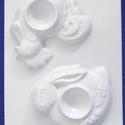 Mécses-20 - gipszöntő forma (2 motívum) - tojástartó, Szerszámok, eszközök, Egyéb szerszám, eszköz,          Mécses-20 - gipszöntő forma - kakas és nyuszi tojástartó  - sablon: 15x20 cm- minta: 10 cm ..., Alkotók boltja