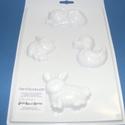 Állat-5 - gipszöntő forma (4 motívum) - háziállatok, Szerszámok, eszközök, Egyéb szerszám, eszköz, Gipszöntés,         Állat-5 - gipszöntő forma - háziállatok (macska, malac, kacsa, nyuszi)  - sablon: 18x29 cm-..., Alkotók boltja