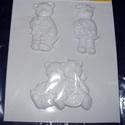Állat-27 - gipszöntő forma (3 motívum) - ünneplő macik, Szerszámok, eszközök, Egyéb szerszám, eszköz, Gipszöntés,         Állat-27 - gipszöntő forma - ünneplő macik  - sablon: 25x20 cm- minta: 5,5x10,5 cm (fiúmaci..., Alkotók boltja