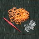Gumigyűrű-20 (~260 db/csomag) - fluoreszkáló átlátszó narancssárga, Vegyes alapanyag, Alkotók boltja
