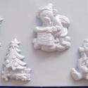 Karácsony-33 - gipszöntő forma (4 motívum) - karácsonyi macik, Szerszámok, eszközök, Egyéb szerszám, eszköz, Gipszöntés,     Karácsony-32 - karácsonyi gipszöntő forma   4 karácsonyi figura: 3 féle maci, karácsonyfa ajánd..., Alkotók boltja