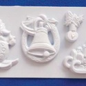 Karácsony-27 - gipszöntő forma (4 motívum) - karácsonyi figurák, Szerszámok, eszközök, Egyéb szerszám, eszköz, Gipszöntés,     Karácsony-27 - karácsonyi gipszöntő forma   4 karácsonyi figura: síelő hóember, csengő, gyertya..., Alkotók boltja