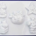 Karácsony-23 - gipszöntő forma (5 motívum) - karácsonyi figurák, Szerszámok, eszközök, Egyéb szerszám, eszköz, Gipszöntés,    Karácsony-23 - karácsonyi gipszöntő forma   5 különböző figura: csillag, télapó, szarvas, ajándé..., Alkotók boltja