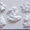 Karácsony-16 - gipszöntő forma (5 motívum) - karácsonyi figurák, Szerszámok, eszközök, Egyéb szerszám, eszköz, Gipszöntés,    Karácsony-16 - karácsonyi gipszöntő forma   5 karácsonyi figura: angyal, fenyő, szarvas, csillag..., Alkotók boltja