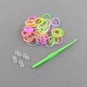 Gumigyűrű-26 (~260 db/csomag) - fluoreszkáló átlátszó mix , Vegyes alapanyag, Mindenmás,  Gumigyűrű-26 - fluoreszkáló átlátszó vegyes színek  Karkötő készítésére alkalmas készlet, mely a k..., Alkotók boltja