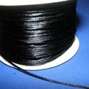 Szatén zsinór - 1 mm (ZS130. minta/1 m) - fekete, Gyöngy, ékszerkellék, Ékszerkészítés,  Szatén zsinór (ZS130. minta) - fekete  Kiválóan alkalmas fonási technikákhoz, nyakbavalók felfügge..., Alkotók boltja