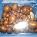 Festett fagolyó-5 (vegyes méret/75 db) - barna, Gyöngy, ékszerkellék, Ékszerkészítés, Gyöngy,  Festett fagolyó-5 - barna  A csomag tartalma:Ø 8 mm - 60 dbØ15 mm - 6 db                          ..., Alkotók boltja