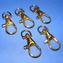 Karabiner (467/A minta/1 db) - 35 mm , Csat, karika, zár, Mindenmás,  Karabiner (467/A minta) - arany színben  Alkalmas kulcstartó, póráz stb. készítéséhez. Mérete: 35 ..., Alkotók boltja