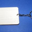 Fa kulcstartó-2 (60x45 mm/1 db) - téglalap, Fa, Egyéb fa,  Fa kulcstartó-2 - platinum színű láncos kulcstartóval - téglalap  Fa alap mérete: 60x45 mmAnyaga: ..., Alkotók boltja