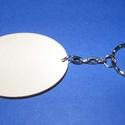Fa kulcstartó-6 (60x45 mm/1 db) - ovális, Fa, Egyéb fa,  Fa kulcstartó-6 - platinum színű láncos kulcstartóval - ovális  Fa alap mérete: 60x45 mmAnyaga: na..., Alkotók boltja