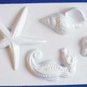 Tengeri-17 - gipszöntő forma (4 motívum) - kagylók + csikóhal, Egyéb szerszám, eszköz,            Tengeri-17 - gipszöntő forma - kagylók + csikóhal  - sablon: 16x24 cm- minta: 4-12 cm..., Alkotók boltja