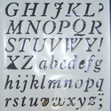 Sablon-16 (30x21 cm/1 db) - nyomtatott betűk, Szerszámok, eszközök,  Sablon-16 - nyomtatott betűk  Rugalmas, műanyag sablon festékhez és struktúrpasztához.Közvet..., Alkotók boltja