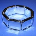 Műanyag karkötő alap (2. minta/1 db) - ezüst négyzet (20x20 mm), Gyöngy, ékszerkellék, Ékszerkészítés,  Műanyag karkötő alap (2. minta) - szögletes - ezüst színben  A négyzet lapocskák mérete: 24x24x5 m..., Alkotók boltja