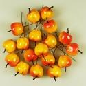 Koszorúdísz-4 (20 mm/5 db) - piros/sárga alma, Vegyes alapanyag,   Koszorúdísz-4 - alma - piros/sárga    Mérete: kb. 20 mmSzár hossza: 6 cm    Az ár 5 dara..., Alkotók boltja