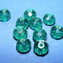 Csiszolt üveggyöngy-20 (6x8 mm/10 db) - emerald, Gyöngy, ékszerkellék,  Csiszolt üveggyöngy-2 - emerald  Mérete: 6x8 mmFurat: 1 mm  Kiszerelés: 10 db/csomag Az ár egy..., Alkotók boltja