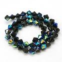 Csiszolt üveggyöngy-51 (6x6 mm/15 db) - irizáló fekete gyémánt, Gyöngy, ékszerkellék,  Csiszolt üveggyöngy-51 - irizáló fekete gyémánt  Mérete: 6x6 mmFurat: 1 mm  Kiszerelés: 15 ..., Alkotók boltja
