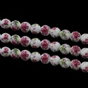 Porcelángyöngy-11 (Ø 12 mm/5 db), Gyöngy, ékszerkellék,  Porcelángyöngy-110 - fehér-mélyva virág mintás  Mérete: Ø 12 mmFurat: 3 mm  A csomag tartalma: 5 db..., Alkotók boltja