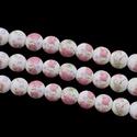 Porcelángyöngy-12 (Ø 12 mm/5 db), Gyöngy, ékszerkellék,  Porcelángyöngy-12 - fehér-rózsaszín virág mintás  Mérete: Ø 12 mmFurat: 3 mm  A csomag tartalma: 5 ..., Alkotók boltja
