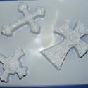 Vallás-15 - gipszöntő forma (3 motívum) - feszületek, Szerszámok, eszközök, Egyéb szerszám, eszköz, Gipszöntés,          Vallás-15 - gipszöntő forma - feszületek  Mérete: - sablon: 18x29 cm- minta: 7-8x10 cm ..., Alkotók boltja