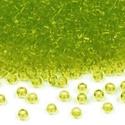 Cseh üveggyöngy-10 (2 mm/10 g) - ezüst közepű limezöld, Gyöngy, ékszerkellék,  Cseh üveggyöngy-10 - limezöld - ezüst közepű  Kiváló minőségű cseh (preciosa) kásagyön..., Alkotók boltja