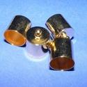 Bőrvég (39. minta/1 db) - 15x12 mm, Gyöngy, ékszerkellék,  Bőrvég és szalagvég (39. minta) - arany színben  Mérete: 15x12 mmBelső átmérő: 11,5 mm  Az ár egy d..., Alkotók boltja