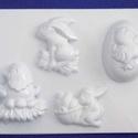 Húsvét-20 - húsvéti gipszöntő forma (4 motívum), Egyéb szerszám, eszköz, Gipszöntés,  Húsvét-20 - húsvéti gipszöntő forma   4 motívum: 2 féle nyuszi, tojás, tyúk  Mérete: - sablon: 20x..., Alkotók boltja