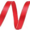 Szalag (14. minta/0,85 m) - piros/arany lurex, Textil,  Taft szalag (14. minta) - piros - arany lurex szegéllyel - dróttal  A taft tekercs sűrű, fénye..., Alkotók boltja