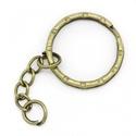Kulcskarika lánccal (468/A minta/1 db) - 25 mm , Csat, karika, zár,  Kulcskarika lánccal (468/A minta) - antik bronz színben  Méretei:Kulcskarika: 25 mmLánc: 28 mmA..., Alkotók boltja