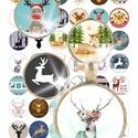 40 különböző kép! Digitális, nyomtatható kollázs ékszerkészítéshez,  karácsonyi, rénszarvas, Gyöngy, ékszerkellék, Cabochon, 40 különböző kép - Karácsonyi rénszarvasok kollázsként megszerkesztve.   Digitális kollázs ékszerkés..., Alkotók boltja