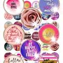 48 különböző kép! Digitális, nyomtatható kollázs ékszerkészítéshez, pink és lila  képek, feliratok, lepkék, virágok, Gyöngy, ékszerkellék, Cabochon, Ékszerkészítés, Papírművészet, Gyöngy, 48 különböző kép - szövegek, feliratok, pink és lila képek, virágok, lepkék kollázsként megszerkesz..., Alkotók boltja