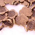 Bronz virág formájú medálrögzítő - 10 db/csom., Gyöngy, ékszerkellék, Fém köztesek, Kedves, kis medálrögzítő,ami virágot formáz. A közepébe egy spirál mintát nyomtak, ami egy..., Alkotók boltja