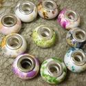 Pandora  típusú akril  gyöngy- 15db/csom, Gyöngy, ékszerkellék, Műanyag gyöngy, Ezüst betétes Pandora stílusú 14x10mm-es akril gyöngyök. Vegyes pasztell színekben, pöttyöz..., Alkotók boltja