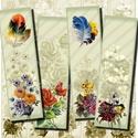 Nyomtatható könyvjelzők - romantikus virágok és madártollak , Papír, Virágcsokrok és madártollak - romantikus vintage motívumok - nyomtatható könyvjelzők   Min. 5 termék..., Alkotók boltja