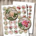 Kódexek és rózsák - digitális képek ékszerkészítéshez , Papír, Gyöngy, ékszerkellék, Vintage rózsaillusztrációk kódexlapokra helyezve - nyomtatható, kör alakú képek  Min. 5 termék rende..., Alkotók boltja