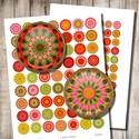 Mandala-mánia - digitális képek ékszerkészítéshez , Gyöngy, ékszerkellék, Papír, Mandalák őszi színekben - nyomtatható, kör alakú képek  Min. 5 termék rendelésekor 400 Ft / kollázs ..., Alkotók boltja