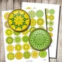 Mandala körök ékszerkészítéshez - zöld és sárga , Papír, Zöld és sárga mandalák - nyomtatható, kör alakú képek  Min. 5 termék rendelésekor 400 Ft / kollázs !..., Alkotók boltja