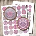 Rózsaszínű mandalák - digitális képek ékszerkészítéshez , Papír, Rózsaszínű mandalák - nyomtatható, kör alakú képek  Min. 5 termék rendelésekor 400 Ft / kollázs !  *..., Alkotók boltja
