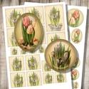 Decoupage készlet - tulipánok és krókuszok, Papír, Vintage képeslapok virágcsendéletei - tulipánok és krókuszok - nyomtatható képkollázs   *** Mit kaps..., Alkotók boltja