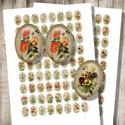 Vintage virág-illusztrációk - nyomtatható képkollázs, Papír, Gyöngy, ékszerkellék, Vintage virág-illusztrációk - nyomtatható ovális képek  Min. 5 termék rendelése esetén 400 Ft / koll..., Alkotók boltja