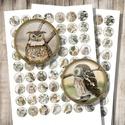 Nyomtatható képek ékszerkészítéshez - baglyok - vintage illusztrációk , Gyöngy, ékszerkellék, Papír, Baglyos vintage illusztrációk - nyomtatható, kör alakú képek - digitális képkollázs   Min. 5 termék ..., Alkotók boltja