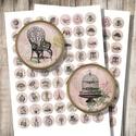 Vintage illusztrációk romantikus háttéren - digitális képek ékszerkészítéshez , Gyöngy, ékszerkellék, Üveglencse, Vintage illusztrációk romantikus háttéren - nyomtatható, kör alakú képek  Min. 5 termék rendelésekor..., Alkotók boltja