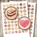 Édességek, sütemények - kör alakú digitális képek, Papír, Gyöngy, ékszerkellék, Édességek, finomságok - vintage illusztrációk - nyomtatható, kör alakú képek  Min. 5 termék rendelés..., Alkotók boltja