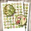 Vintage botanika - digitális képkollázs , Papír, Gyöngy, ékszerkellék, Vintage botanikai illusztrációk - nyomtatható, kör alakú képek  Min. 5 termék rendelésekor 400 Ft / ..., Alkotók boltja