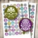 Damaszk minták - nyomtatható képek ékszerkészítéshez , Gyöngy, ékszerkellék, Üveglencse, Damaszk minták elegáns színekben - nyomtatható, kör alakú képek  Min. 5 termék rendelésekor 400 Ft /..., Alkotók boltja
