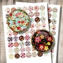 Vintage virágminták - digitális képek ékszerkészítéshez , Gyöngy, ékszerkellék, Üveglencse, Vintage virágminták - nyomtatható, kör alakú képek  Min. 5 termék rendelésekor 400 Ft / kollázs !  *..., Alkotók boltja