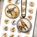 Nyomtatható mintaív - vintage madár-illusztrációk , Papír, Grafika, fotó, Nyomtatható mintaív kör alakú mintákkal, üveglencsés ékszerek készítéséhez.   -Kiváló minőségű, él..., Alkotók boltja