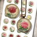Vintage rózsák - nyomtatható papír alap ékszerkészítéshez , Gyöngy, ékszerkellék, Üveglencse, Decoupage, szalvétatechnika, Ékszerkészítés, Grafika, fotó, Nyomtatható mintaív kör alakú mintákkal, üveglencsés ékszerek készítéséhez.   -Kiváló minőségű, él..., Alkotók boltja